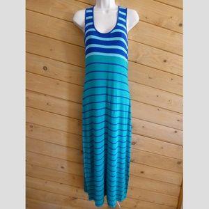 Calvin Klein 8 Blue Stripe Tank Maxi Jersey Dress